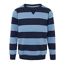Buy John Lewis Boy Raglan Bar Stripe Sweatshirt, Navy/Blue Online at johnlewis.com