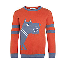 Buy John Lewis Boy Large Dog Jumper, Orange Online at johnlewis.com