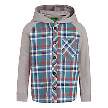 Buy John Lewis Boy Hooded Check Shirt, Blue Online at johnlewis.com