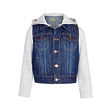 Buy John Lewis Boy Hooded Denim Contrast Jacket, Blue/Grey Online at johnlewis.com