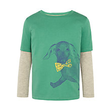 Buy John Lewis Boy Bow Tie Dog Long Sleeve Top, Green/Grey Online at johnlewis.com