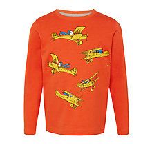 Buy John Lewis Boy Long Sleeve Aeroplanes T-Shirt, Burnt Orange Online at johnlewis.com