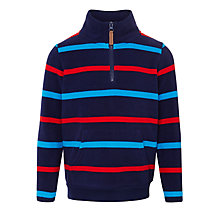 Buy John Lewis Boy Half Zip Stripe Fleece, Navy Online at johnlewis.com
