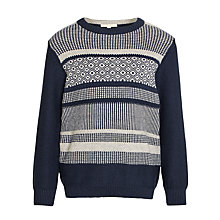 Buy John Lewis Heirloom Collection Boys' Plain Sleeve Fair Isle Jumper, Navy Online at johnlewis.com