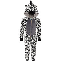 Buy John Lewis Boys' Fluffy Zebra Onesie, Black/White Online at johnlewis.com