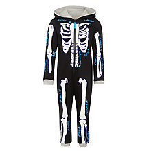Buy John Lewis Boy Glow In The Dark Skeleton Onesie, Black/White Online at johnlewis.com