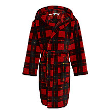 Buy John Lewis Boys' Tartan Bath Robe, Red Online at johnlewis.com