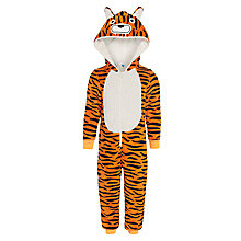 Buy John Lewis Boys' Fluffy Tiger Onesie, Orange/Black Online at johnlewis.com