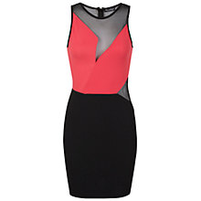 Buy Miss Selfridge Colour Block Mesh Bodycon Dress, Black Online at johnlewis.com
