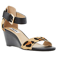 Buy Dune Katy Pony Wedged Sandals, Leopard Print Online at johnlewis.com