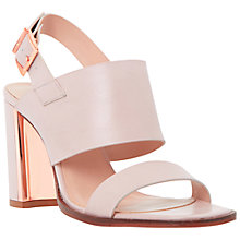 Buy Dune Maizie Leather Metal Trim Block Heel Sandals, Blush Online at johnlewis.com