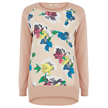 Buy Oasis Floral Bloom Woven Front Top, Light Neutral Online at johnlewis.com