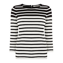 Buy Oasis Stripe Compact Kimono Top, Black/White Online at johnlewis.com