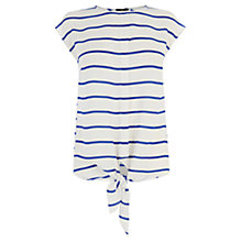 Buy Oasis Tie Front Stripe T-Shirt, Multi Online at johnlewis.com