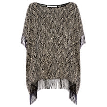 Buy Warehouse Fringe Print Kaftan, Black Online at johnlewis.com