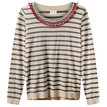 Buy East Pom Pom Embellished Jumper, Ivory Online at johnlewis.com