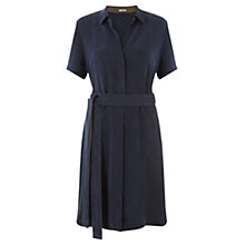 Buy Jigsaw Heavy Silk Shirt Dress, Navy Online at johnlewis.com