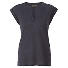 Buy Jigsaw Linen V-Neck Top, Eucalyptus Online at johnlewis.com
