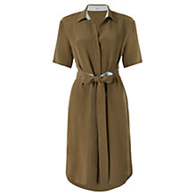 Buy Jigsaw Heavy Silk Shirt Dress, Khaki Online at johnlewis.com