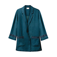 Buy East Linen Embroidered Jacket, Indigo Online at johnlewis.com