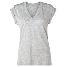 Buy Jigsaw Linen V-Neck Top, Light Grey Melange Online at johnlewis.com