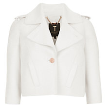 Buy Ted Baker Pod Cropped Biker Jacket, Cream Online at johnlewis.com