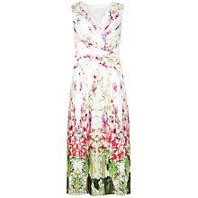 Buy Ted Baker Risha Pleated Mirrored Tropics Midi Dress, Ivory/Multi Online at johnlewis.com