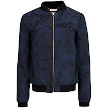 Buy Ted Baker Palm Crepe Bomber Jacket, Black Online at johnlewis.com