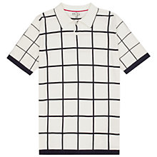 Buy Reiss Baltimore Check Polo Shirt, White/Black Online at johnlewis.com