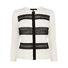 Buy Karen Millen Lace Stripe Knit Cardigan Online at johnlewis.com