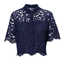 Buy Whistles Camilla Lace Shirt, Navy Online at johnlewis.com