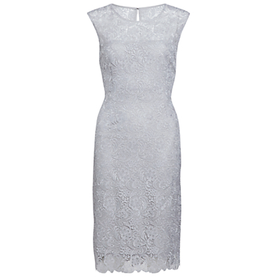 Gina Bacconi Swirl Floral Guipure Dress, Silver Mist
