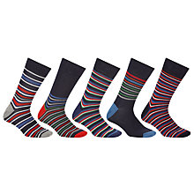 Buy John Lewis Buffalo Stripe Socks, Pack of 5 Online at johnlewis.com