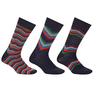 John Lewis Multi Chevron Socks, Pack of 3, Multi