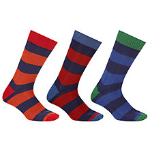 Buy John Lewis Wide Stripe Rugby Socks, Pack of 3 Online at johnlewis.com