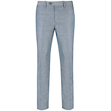 Buy Ted Baker Nitetro Herringbone Linen Blend Trousers, Blue Online at johnlewis.com