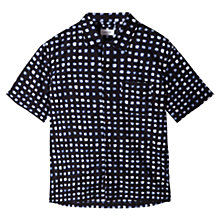 Buy Jigsaw Painted Check Short Sleeve Shirt, Indigo Online at johnlewis.com