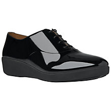 Buy FitFlop F-Pop Oxford Wedge Heeled Brogues, Black Online at johnlewis.com
