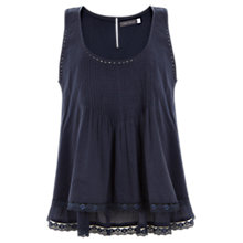 Buy Mint Velvet Iris Cotton Pintuck Top, Blue Online at johnlewis.com