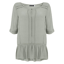 Buy Mint Velvet Lace Trim Peplum Top, Duck Egg Online at johnlewis.com