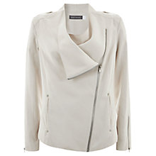 Buy Mint Velvet Soft Biker Jacket, Stone Online at johnlewis.com