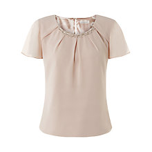 Buy Jacques Vert Bead Trim Angel Sleeve Blouse, Mid Neutral Online at johnlewis.com