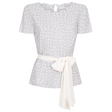 Buy Jacques Vert Scallop Neck Spot Top, Light Grey Online at johnlewis.com