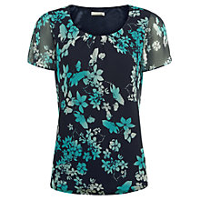 Buy Jacques Vert Butterfly Flower Belted Top, Multi/Navy Online at johnlewis.com