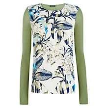 Buy Warehouse Feather Print Woven Front Jumper, Khaki Online at johnlewis.com