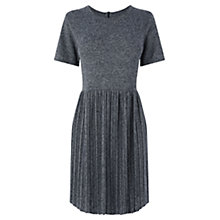 Buy Warehouse Pleated Marl Dress, Navy Online at johnlewis.com
