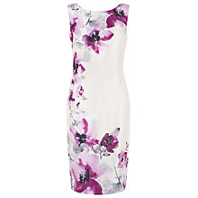 Buy Jacques Vert Placement Flower Dress, White/Purple Online at johnlewis.com