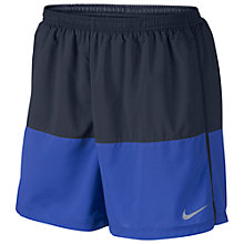 "Buy Nike 5"" Distance Running Shorts, Black/Blue Online at johnlewis.com"