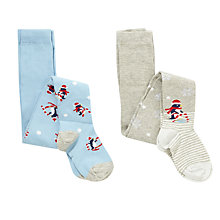 Buy John Lewis Girl Christmas Penguin Tights, Pack of 2, Blue/Grey Online at johnlewis.com