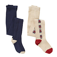 Buy John Lewis Girl Floral And Cable Knit Tights, Pack of 2, Navy/Beige Online at johnlewis.com
